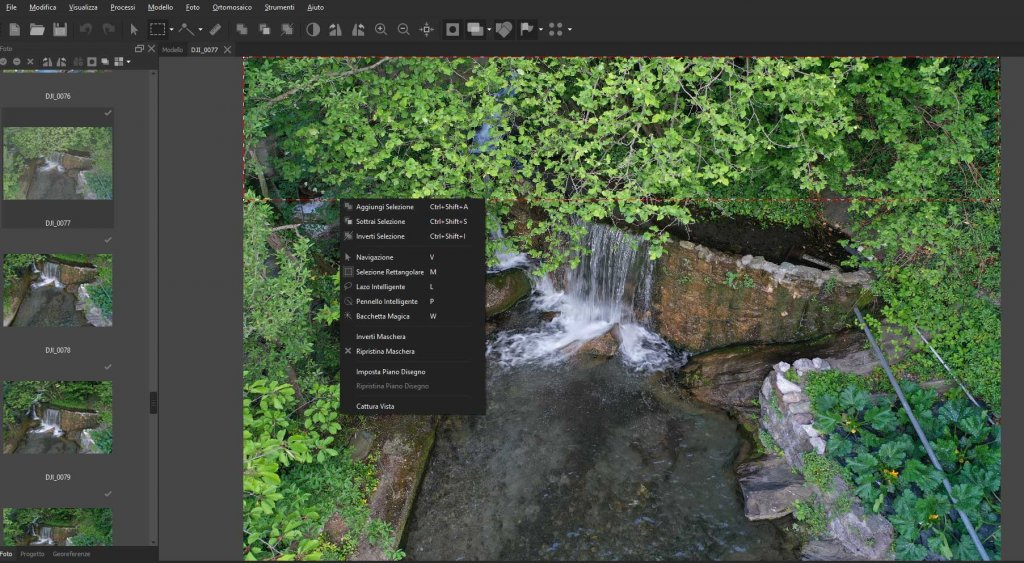 Interfaccia di Metashape Pro: creazione di maschere